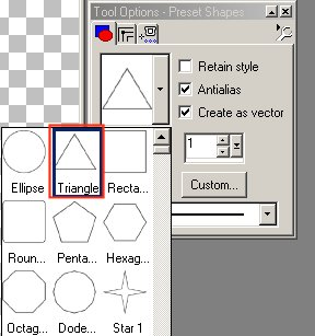Choose triangle and then rectangle preset shape.